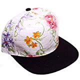 White & Black Faux Alligator Floral All Over Print Snapback Baseball Cap