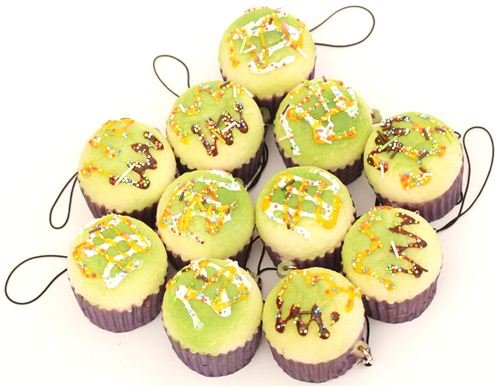 Ciondolo per cellulari squishy kawaii muffin verde - Charm per cellulari - Panorama Auto