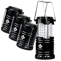 Etekcity 4 Pack Portable Outdoor LED Camping Lantern with 12 AA Batteries (Black, Collapsible) by Etekcity