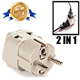 OREI Grounded Universal 2 in 1 Schuko Plug Adapter Type E/F for Germany, France, Europe, Russia & more - High Quality - CE...