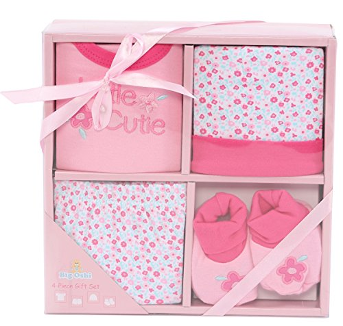 "Big Oshi Layette Baby Gift Set, 4 Piece â€"" Gift Boxed - Ready To Go - Perfect Baby Shower Gift - Pink"