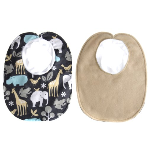 Isaac's Baby Boy Bib - Grey Animal Print, 3 - 6m