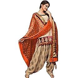 New cream cotton patiyala dress materials