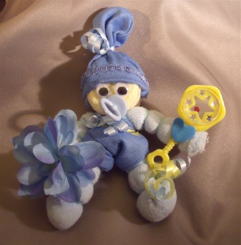 Blue Mini Sock Corsage and Baby Gift in One