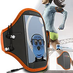 Orange Black Adjustable Sports GYM Jogging Running ArmBand Case Cover with 3.5mm Aluminium Headphones For LG Optimus LU6200 LTE