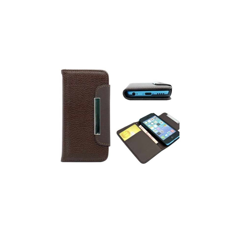 For iPhone 5C Brown Wallet PU Leather Credit Card Holder Magnetic Flip Cover Case