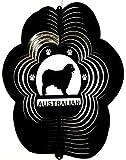 Stainless Steel Australian Shepherd Dog 12 Inch Wind Spinner, Black