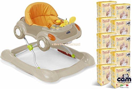 CAM Camminando girello beige + 200 Pannolini CAM taglia 3 MIDI 4-9 kg