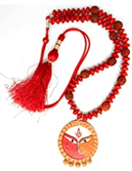 Rudraksha Jewellery Necklace - Hand Painted Maa Durga Pendant Terracotta Lakshmi Rudraksh Jewellery Necklace Set...