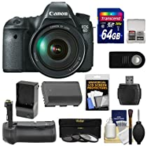 Canon EOS 6D Digital SLR Camera Body with EF 24-105mm L IS USM Lens with 64GB Card + Battery & Charger + Grip + 3 UV/ND8/CPL Filters + Remote Kit