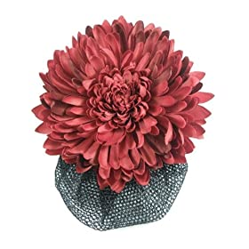 Sn3306 Beautiful Big Red Chrysanthemum Barrette Clip Snood Hair Net Hair Band so Sexy