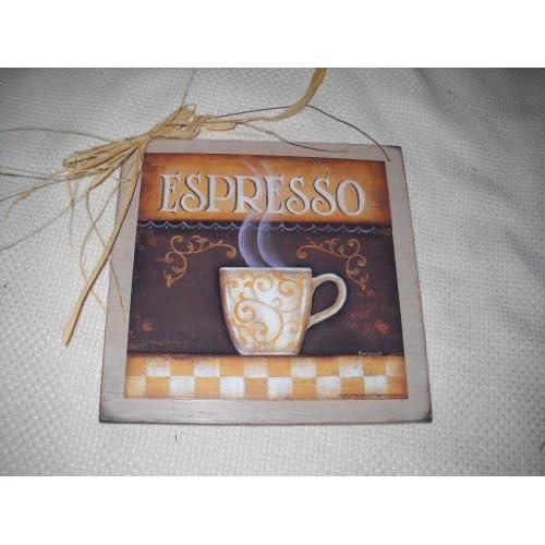 espresso coffee kitchen wall art sign cafe decor wooden. Black Bedroom Furniture Sets. Home Design Ideas