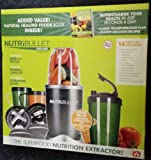 Nutri Bullet 15 Piece Blender - With The Green Smoothie Bible Book (300 Delicious Recipes), Also Includes The Nutribullet Natural Healing Foods Book (Supercharge Your Health in Just Seconds a Day) & Bonus Flip Top To-Go Oversize Mug, Hi Speed Blender / Mixer System