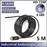 5.5mm Diameter USB Waterproof 6 Led Endoscope Borescope Inspection Wire Camera (5m)