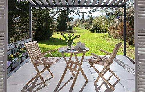 SAM® Teak-Holz Balkongruppe, Gartengruppe, Gartenmöbel 3tlg. Romana, bestehend aus 2 x Klappstuhl mit Armlehne + 1 x Tisch, zusammenklappbare Stühle, leicht zu verstauen