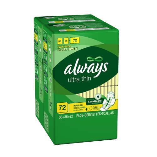 Always Large Count Ultra Thin Regular With Wings 72 Count