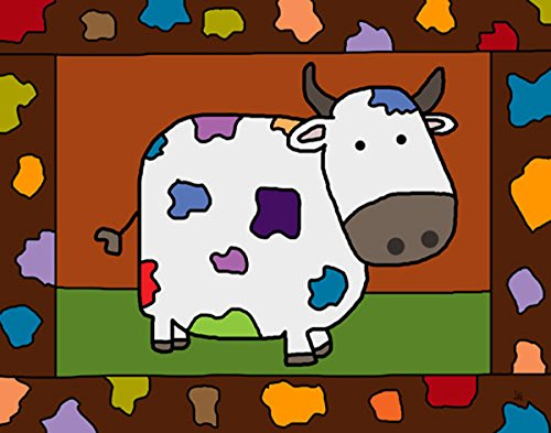 Green Leaf Art Colorful Cow Canvas Art
