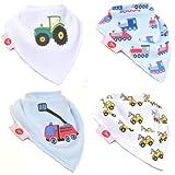 Zippy Fun Bandana Bibs for Baby Boys and Toddlers (Brum Brum! Pack of 4)