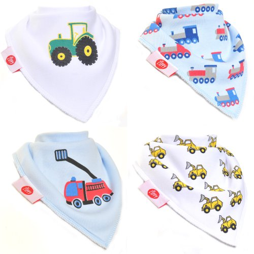 Zippy Fun Baby and Toddler Bandana Bib - Absorbent 100% Cotton Front Drool Bibs with Adjustable Snaps (4 Pack Gift Set) Boys Brum Brum! - 1