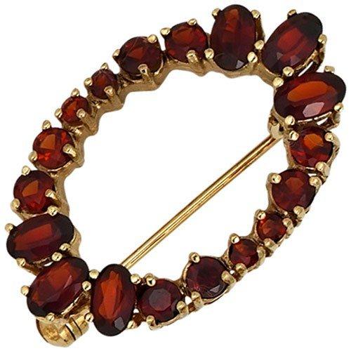 Brosche mit Granat rot dunkelrot 375 Gold Gold Gelbgoldbrosche Damen als Weihnachtsgeschenk kaufen