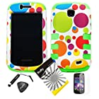 4 items Combo: ITUFFY LCD Screen Protector Film + Mini Stylus Pen + Case Opener + Blue Green Orange Purple Polka Red Yellow Colorful Dots Design Rubberized Hard Plastic + GREEN Soft Rubber TPU Skin Dual Layer Tough Hybrid Case for Straight Talk Samsung Galaxy Proclaim 720C SCH-S720C / Verizon Samsung Illusion i110