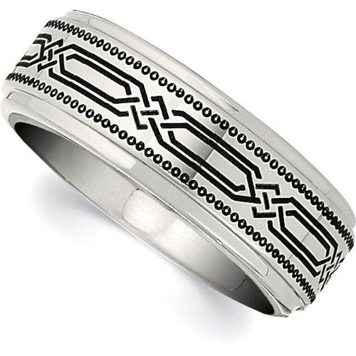 Cobalt Chrome, Laser Engraved Wedding Band (sz 10)