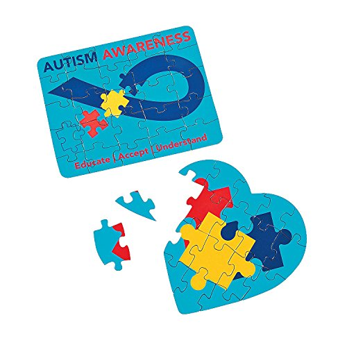 12 Autism Awareness Mini Puzzles - 25-piece Square or 18-piece Heart-shaped