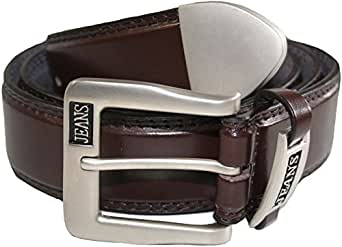 Mens Leather Belt - Casual Jeans Belt - With Crome Tip # 5055 - Brown, 3XL