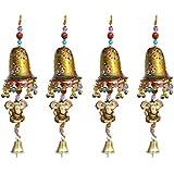 Door Hanging Golden Painted Bell With Jhalar Golden Ganesha With Metal Bell Set Of 4 By Handicrafts Paradise