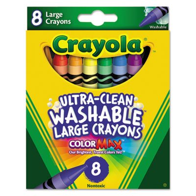 Ultra-Clean Washable Crayons, Large, 8 Colors/Box, Sold as 8 Each