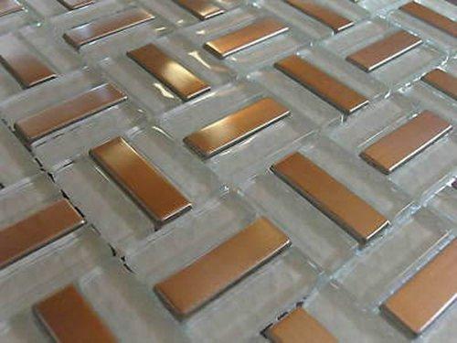 FLIESENTOPSHOP Glasmosaik Edelstahlmosaik Fliesen Metall8 Mosaik 1qm