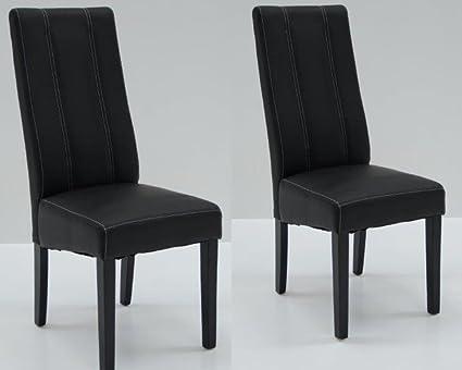 Conjunto de 2 sillas de comedor contemporáneas en piel sintética en color negro NICHOLAS