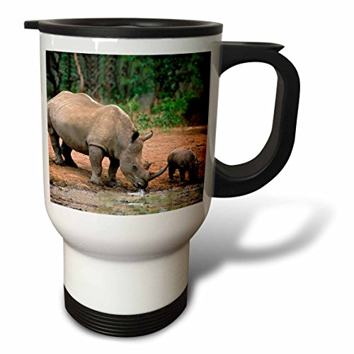 3dRose Black Rhinoceros Travel Mug, 14-Ounce, Stainless Steel