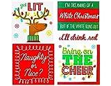 Funny Christmas Cocktail/Beverage Napkins - 4 Pack Bundle - 72 Napkins Total