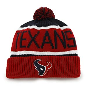 Houston Texans Red Cuff Calgary Beanie Hat with Pom - NFL Cuffed Winter Knit Toque... by Brand 47