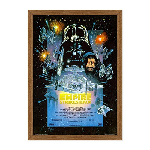 POSTER MANIFESTO ORIGINALE CINEMA CON CORNICE - INCORNICIATO - Star Wars - The Empire Strikes Back - L'impero colpisce ancora - Dimensione 70x100cm - Stile Tradizionale Mogano