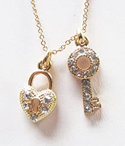 "Rhinestone Heart and Key Pendant on a 19"" Necklace Available in Gold Tone Silver Tone and Rose Tone (GOLD)"