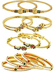 Jewels Galaxy Combo Of Broad Designer Pearls Bangles, Mayur And Gold Plated Bangles - Pack Of 10