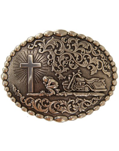 Nocona Men's Motorcycle Prayer Scroll Buckle Silver One Size