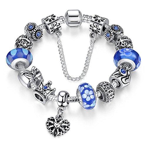 "A TE® Bracciale Charms ""Fiore"" Vetro beads queen Catena Sicurezza Regalo Donna #JW-B110 (Blu)"