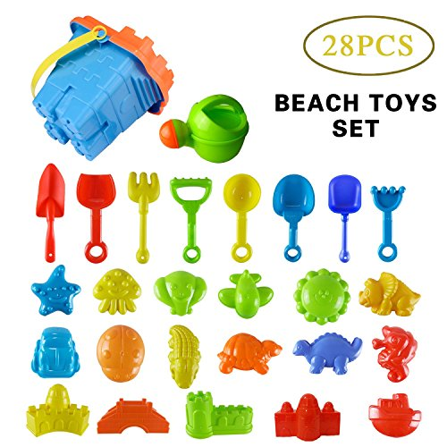 Beach Toy Set for Kids,Big 28 Pcs Sand Play Set with Models and Molds,[Castle+ Animal + Tool, Colorful]