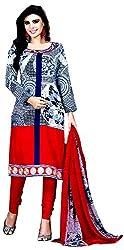 Yati Women's Cotton Unstiched Salwar Suit Dupatta Dress Material (Red & Blue, Free Size)