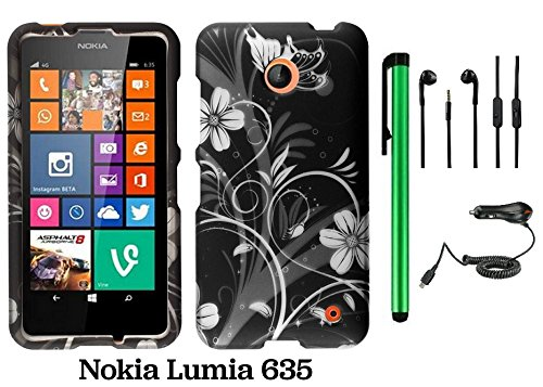 Nokia Lumia 635 (Us Carrier: T-Mobile, Metropcs, And At&T) Premium Pretty Design Protector Cover Case + Car Charger + 3.5Mm Stereo Earphones + 1 Of New Assorted Color Metal Stylus Touch Screen Pen (Black Silver Butterfly Flower)