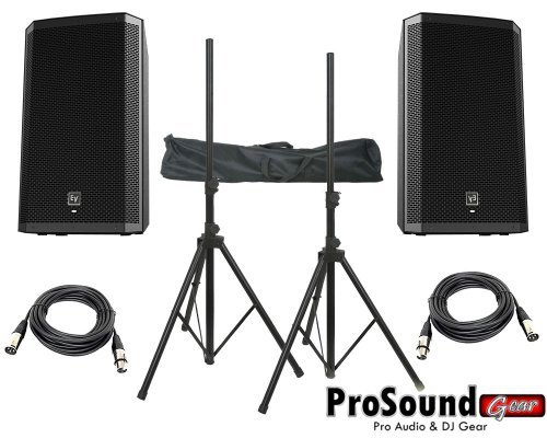 "Electro-Voice Zlx-15P 15"" 2-Way Powered Loudspeaker / (2) Xlr To Xlr Cables 20Ft Ea / (Pair) Speaker Stand W/ Bag / (Prosoundgear Authorized Seller)"