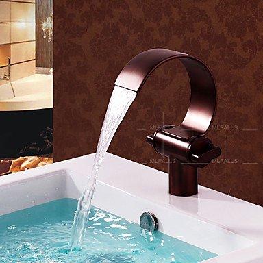 HAOKAN New Antik Design Waschtisch Ein Loch Wasserfall doppelte Griffe Öl eingerieben Bronze Wasserhahn