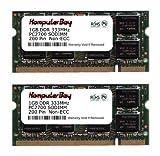 Komputerbay 2GB (2x1GB) DDR SODIMM (200 pin) 333Mhz DDR333 PC2700 FOR Apple Mac Memory PowerBook G4 1.67GHz 17-inch SuperDrive (M9689LL/A) 120 2 GB (2x1GB)