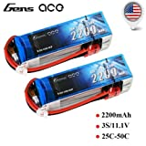2 PACK GENS ACE 2200MAH 3S 11.1V 25c LIPO BATTERY DEANS PLUG TURNIGY ZIPPY VENOM