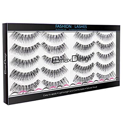 EmaxDesign 10 Pairs Fake Eyelashes, Multipack Natural 3D False Eyelashes - Fashion Eyelashes Extension For Makeup.