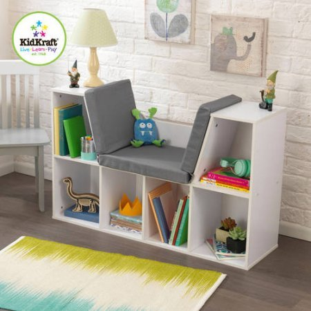 KidKraft Bookcase with Reading Nook Toy (White) (Wall Units Antique White compare prices)