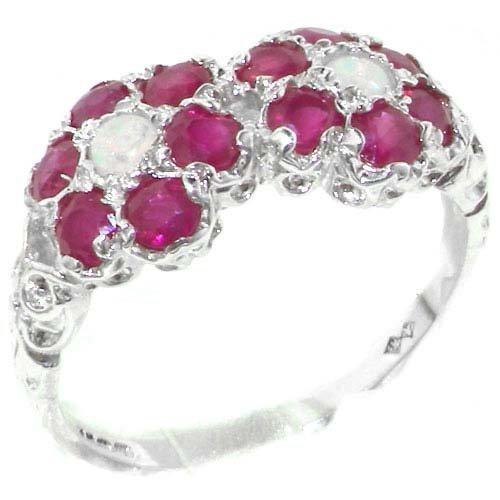 Rare Solid Sterling Silver Natural Ruby & Fiery Opal Double Daisy Ring - Size 11.75 - Finger Sizes 4 to 12 Available - Suitable as an Anniversary ring, Engagement ring, High Quality ring, or Promise ring
